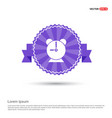 alaram clock icon - purple ribbon banner vector image