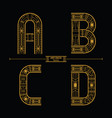 alphabet art deco style in a set abcd vector image