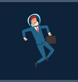ambitious businessman in blue suit and astronaut vector image vector image