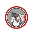 American Cavalry Soldier Blowing Bugle Circle vector image vector image