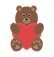 cartoon teddy bear with red heart vector image