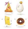 cartooon fast food characters with cheerful human vector image