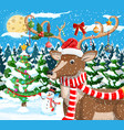 christmas background with cute deer vector image