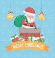 christmas card with santa claus and bag inn vector image vector image