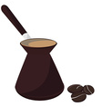 Coffee pot and beans vector image vector image