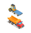 construction and building machinery icons set vector image vector image