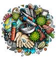coronavirus hand drawn cartoon doodles vector image