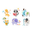 cute animals different activities set adorable vector image vector image