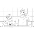 dad and son brush their teeth coloring book vector image