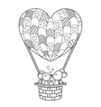 doodle valentine coloring book page loving mice vector image vector image