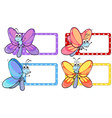 Dragonflies on square labels vector image vector image