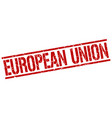 european union red square stamp vector image vector image