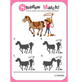 Game template with shadow matching horse and vector image