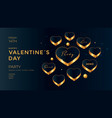 golden hearts on dark background valentines day vector image vector image