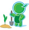 green hero working in the garden vector image vector image