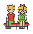happy children sitting on bench boy and girl vector image vector image