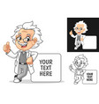 happy old man professor leaning on empty board vector image vector image