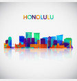 honolulu skyline silhouette in colorful geometric vector image vector image