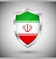 iran flag on metal shiny shield collection of vector image