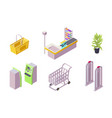 isometric 3d collection isolated urban element of vector image vector image