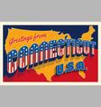 july 4th connecticut usa retro travel postcard vector image