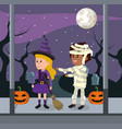 kids and halloween custome vector image vector image