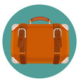 leather luggage case in round blue button isolated vector image vector image