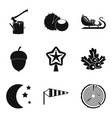lumberjack icons set simple style vector image vector image