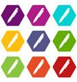marker pen icon set color hexahedron vector image vector image