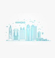 minimal kansas linear city skyline vector image vector image