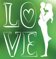 Mother with baby one color green blurred vector image vector image