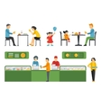 People in a Pizzeria Restaurant interior flat vector image vector image