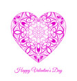 pink fretwork floral heart happy vector image vector image