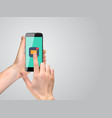 realistic hand holding mobile phone with email vector image vector image