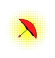 Red umbrella icon comics style vector image