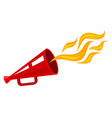 retro red megaphone with flame vector image
