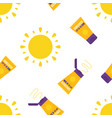 seamless pattern with sun and sunscreen tubes vector image