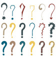 set of 18 question marks for design vector image