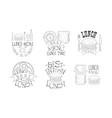 set of 6 hand drawn lunch menu emblems vector image