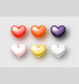 set realistic hearts on transparent background vector image vector image