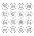 set round line icons of cosmetics vector image