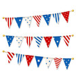 set triangle bunting flags vector image