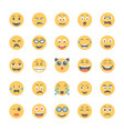 smiley flat icons set 7 vector image