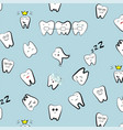 teeth pattern tooth dental cartoon kids vector image