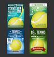 tennis poster set design for sport bar vector image vector image