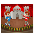 Twins are acting on the stage vector image