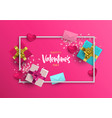valentines day card frame of pink 3d love elements vector image vector image
