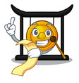 with menu golden gong isolated with the mascot vector image