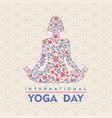 yoga day card flower woman in lotus pose vector image vector image