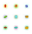 Packing icons set pop-art style vector image